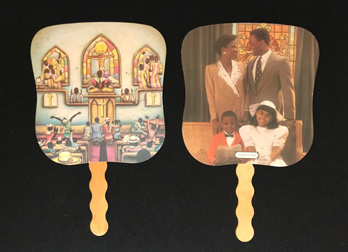 Versos of two fans, with one featuring a church scene and the other featuring an African American family dressed in church clothes.