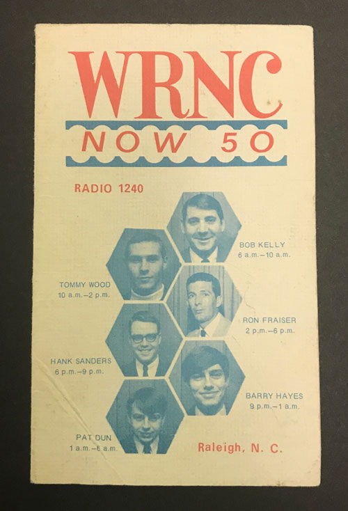 Cover of WRNC Now 50 flyer featuring photographs of disc jockeys.