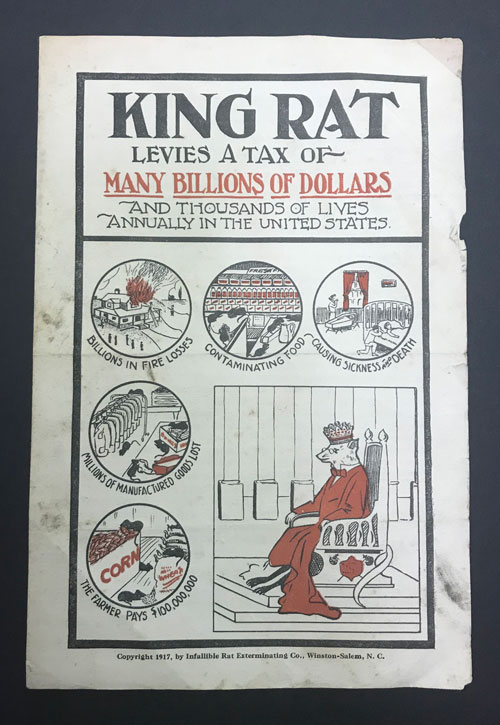 Flier from Infallible Rat Exterminating Company featuring illustrations, including one of King Rat sitting on a throne,.
