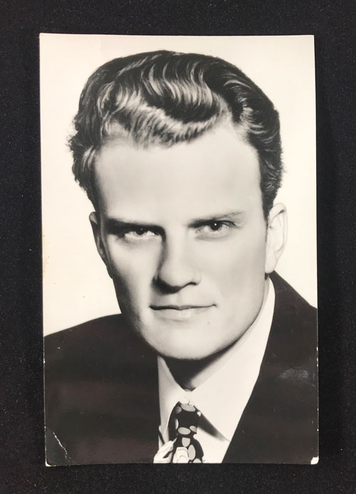 Postcard with headshot of Billy Graham.