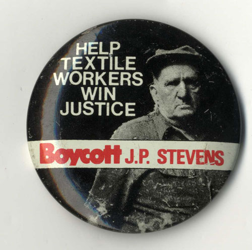 "Pinback with image of Louis Harrell and words ""Help Textile Workers Win Justice. Boycott J.P. Stevens."""