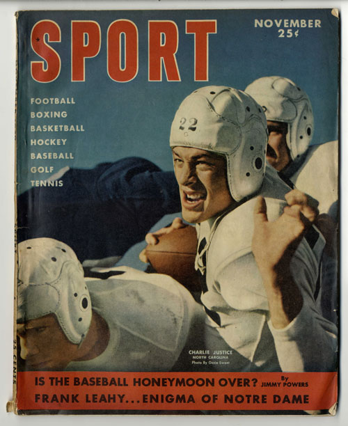 Sport magazine cover with photo of Charlie Justice in football uniform and helmet