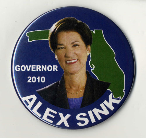 "Pinback button featuring photo of Alex Sink and the words ""Governor 2016, Alex Sink."""
