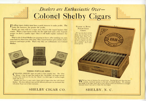 "Two page advertising spread that reads ""Dealers are enthusiastic over Colonel Shelby Cigars"" and includes images of several cigar boxes."