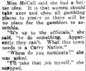 Excerpt from newspaper article about Pearl McCall