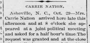 Newspaper article highlighting Carrie Nation's visit to Asheville in 1902