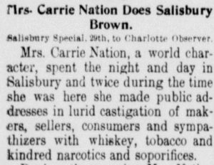 Newspaper article about Carrie Nation's chastisement of Salisbury