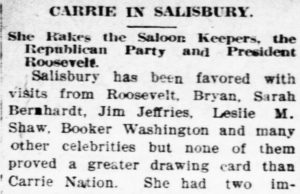 Newspaper article about Carrie Nation's popularity in Salisbury
