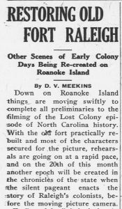 Newspaper article announcing re-creations of colonial settings on Roanoke Island