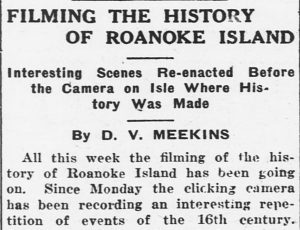 Newspaper article about the film production on Roanoke Island
