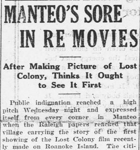 Newspaper article about Manteo residents' indignation to the movie not being shown there first