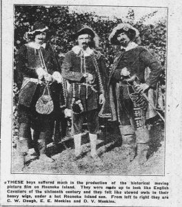 File photo of several men dressed in colonial outfit as part of the movie production