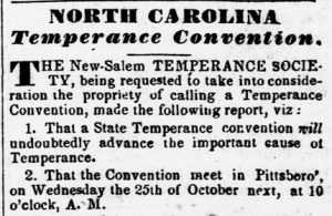 Newspaper notice about the 1837 North Carolina Temperance Convention