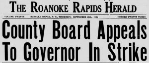 "Newspaper headline ""County Board Appeals To Governor In Strike"""