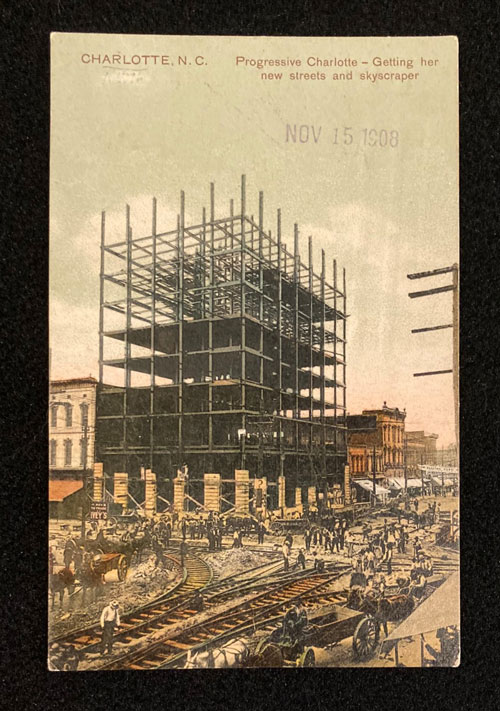 Images of building under construction surrounded by scaffold