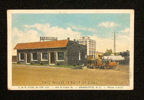 Postcard of exterior of F&R Coal Company building in Charlotte