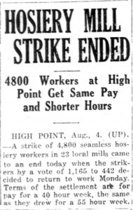 "Newspaper headline ""Hosiery Mill Strike Ended"""