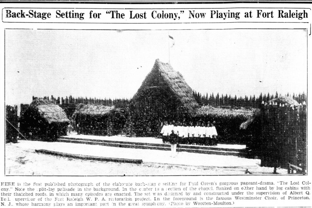 Setting for the Lost Colony, as published in a newspaper from 1937.