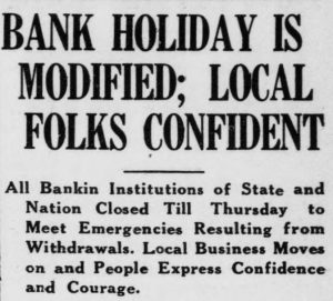 "Newspaper headline ""Bank Holiday is Modified; Local Folks Confident"""
