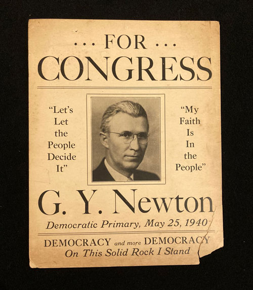 From of campaign poster for Giles Y. Newton