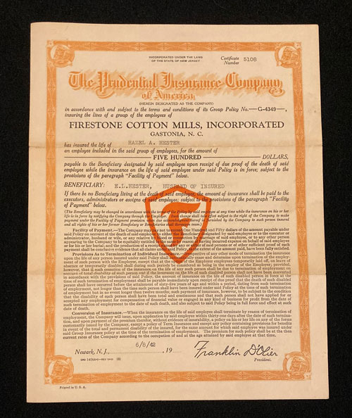 Policy from Prudential Insurance for Hazel A. Hester