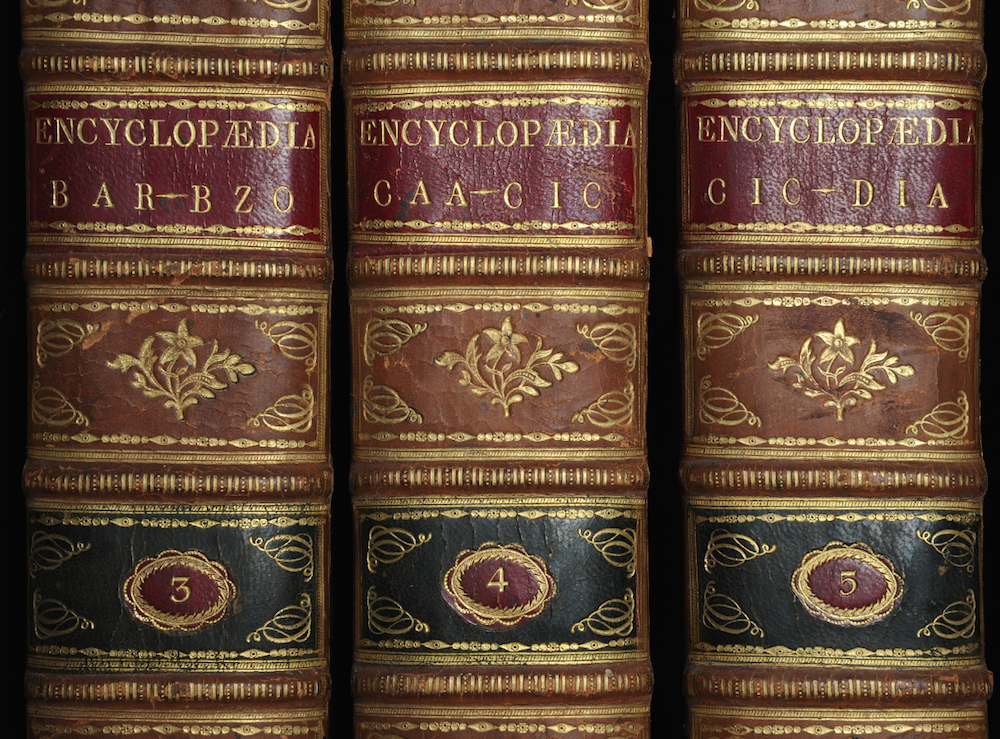 Spines of the first American encyclopedia, published by Thomas Dobson (1798) / AE5 .E342 1798 v.1-18 c.2