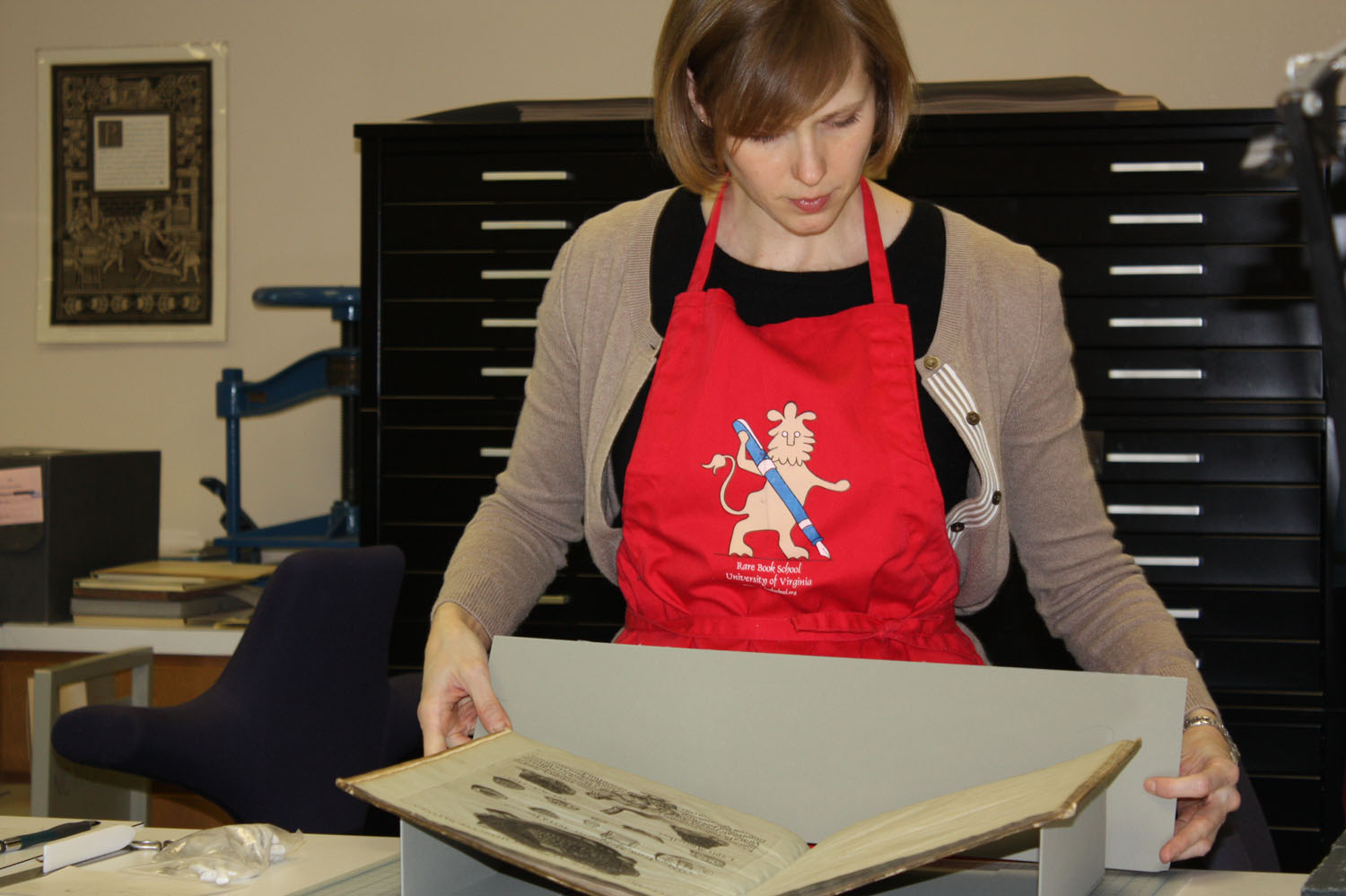 Andrea Knowlton, UNC's Assistant Conservator of Special Collections, at work