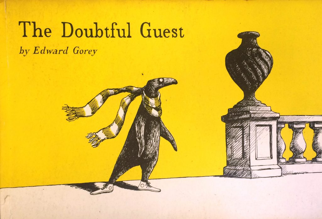 The Doubtful Guest by Edward Gorey is call no. PS3513 .O614 D6