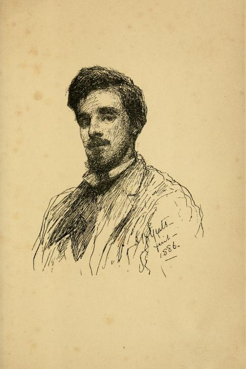 Frontispiece portrait of W. B. Yeats  by John Butler Yeats in Mosada: A Dramatic Poem (Dublin, 1886) / Yeats PR5904 .M67 1886, superv'd