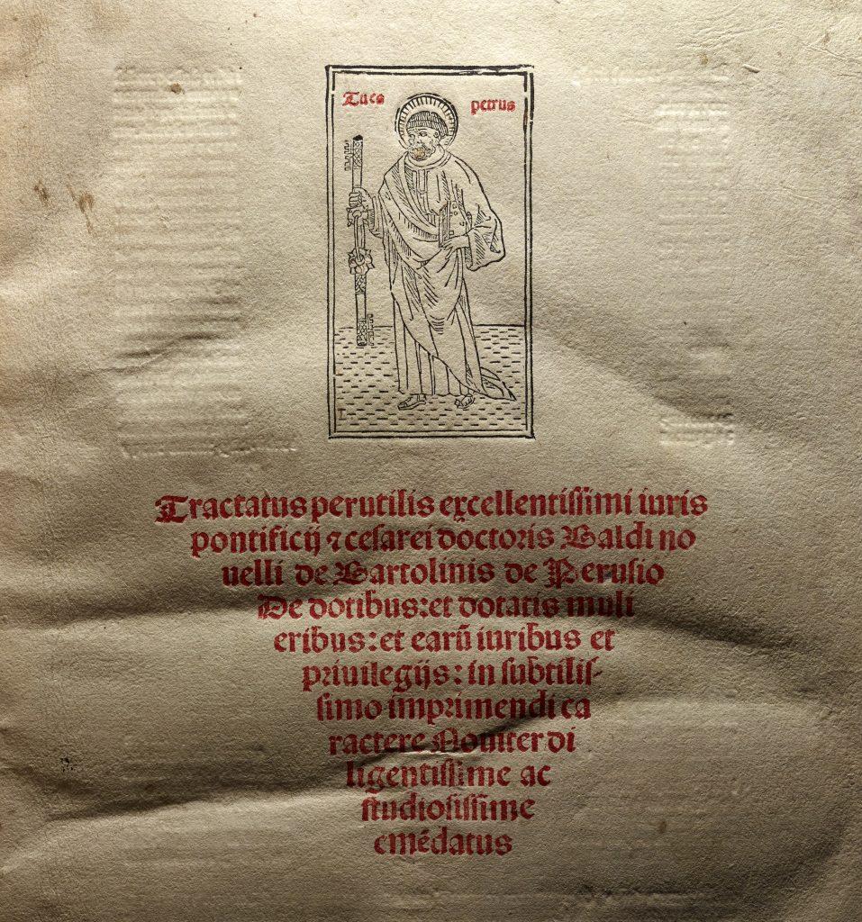 Baldo Bartolini, De dotibus et dotatis mulieribus ([Venice] : Expensis [et] ingenio Paganini de Paganinis .... 9 March 1496) | Folio-2 Incunabula 354.5