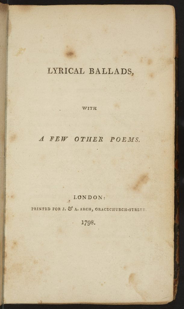 Mark Reed's copy of Lyrical Ballads, which began his comprehensive collecting of Wordsworth editions up to 1930 | PR5869 L9 c.1