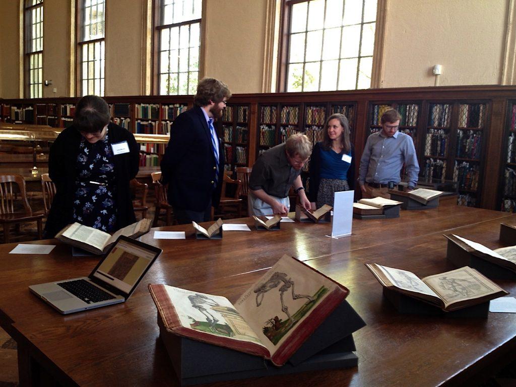 Rare book display at Wilson Library
