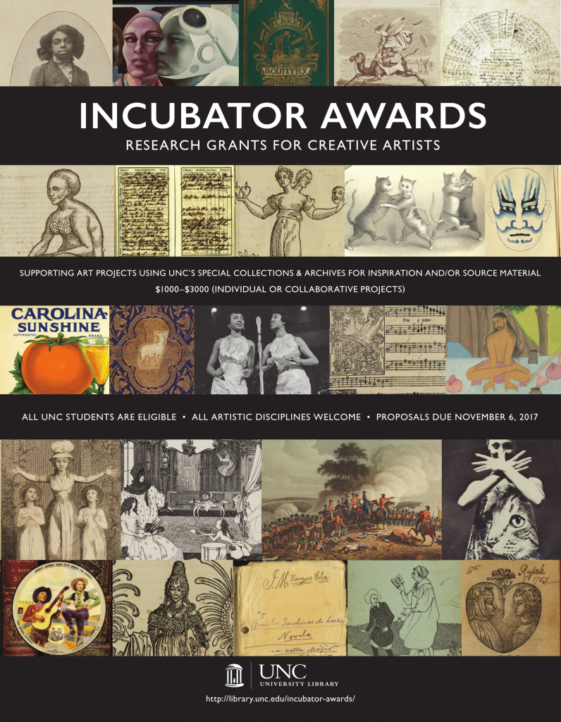 Incubator Awards Poster: Research Grants for Creative Artists