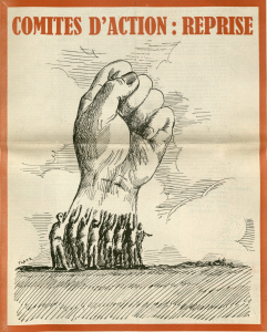 Action newspaper showing a cartoon fists made up of a group of many people