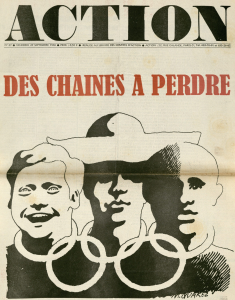 Action newspaper showing three cartoon people with rings around their necks