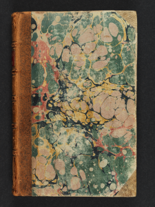 "The marbled cover of the first volume of ""Letters of the Late Ignatius Sancho,"" 1782 first edition."