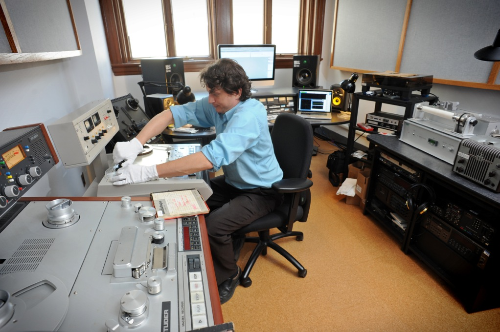 Southern Folklife Collection audio preservation engineer, John Loy, in the John M. Rivers, Jr. Studio. Photo by Dan Sears
