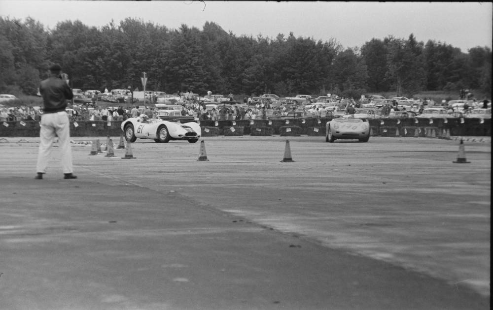 20239_pf0102_02_0003. Car races. Photo by Aaron Rennert, ca. 1957-1960.  Photo-Sound Associates, Ron Cohen Collection (20239). Southern Folklife Collection, UNC Chapel Hill