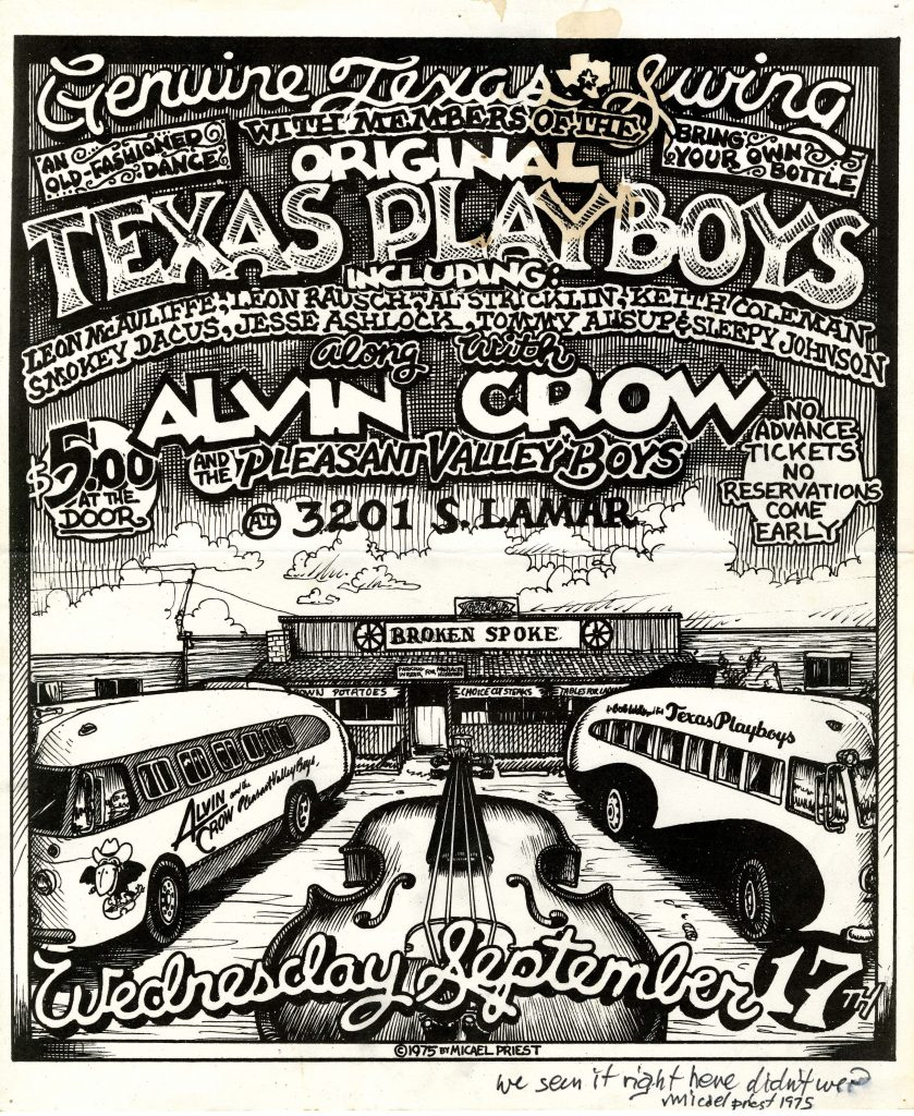 concert poster with illustration of the dancehall Broken Spoke with tour buses for Alvin Crow and the Texas Playboys parked out front and an oversize fiddle in between.