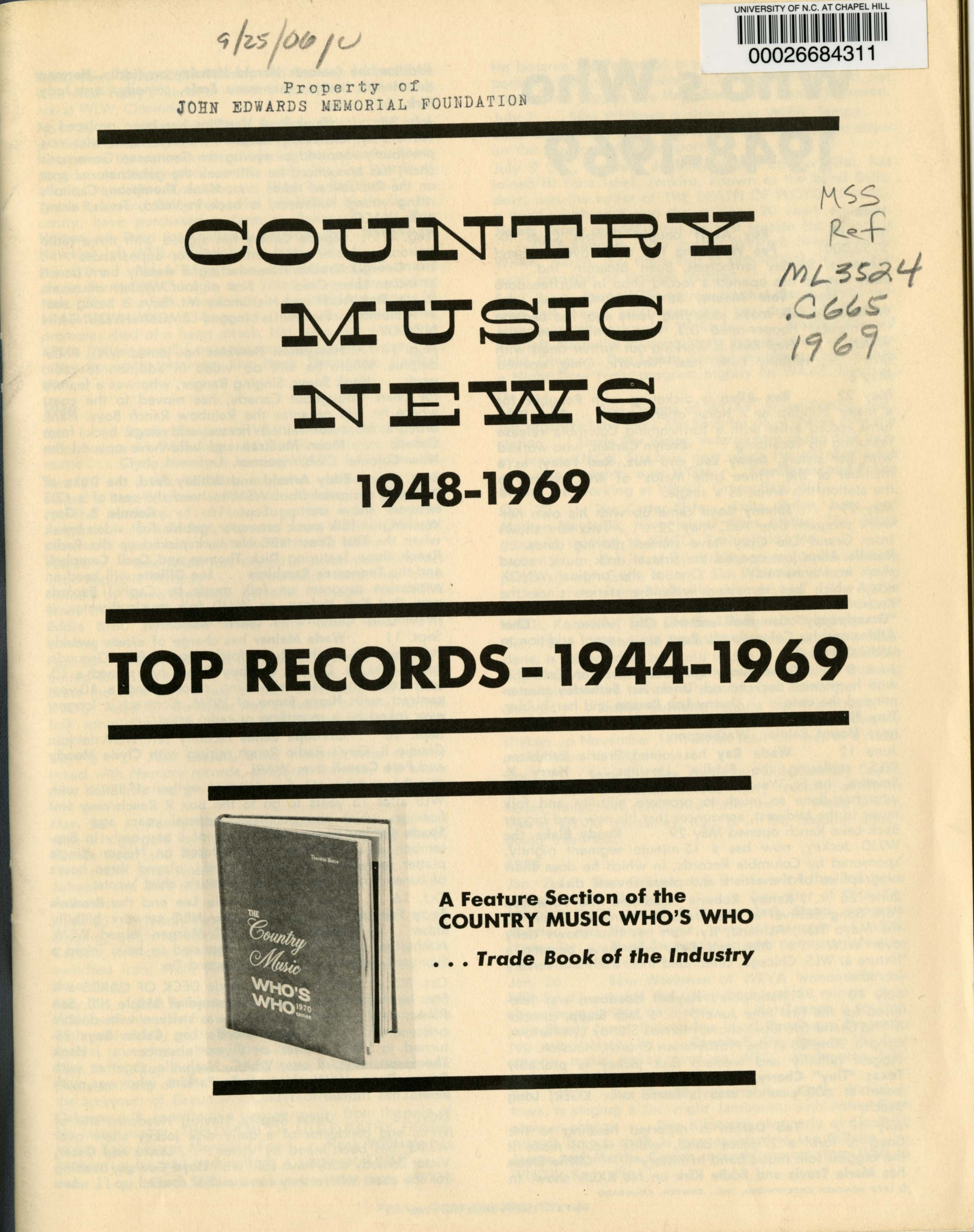 Country_Music_News_ML3524 .C665 1969_Southern_Folklife_Collection