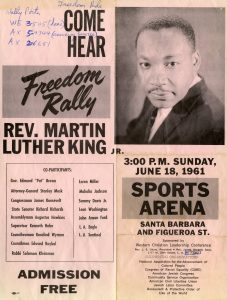"Flyer for ""Freedom Rally"" with speaker Rev. Martin Luther King Jr. 20008_Folder17_FreedomRideFlyer_SFC006"