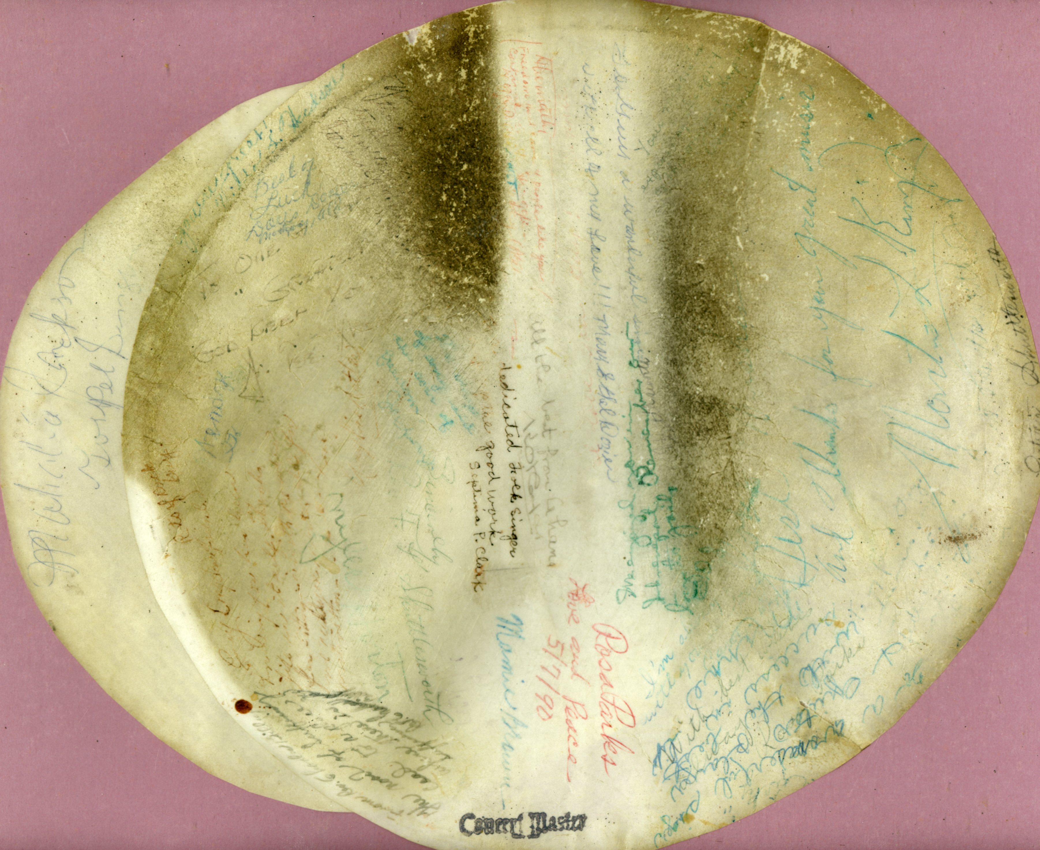Carawan's banjo head, signed by Dr. Martin Luther King, Jr., Rosa Parks, Septima Clark, Fred Shuttlesworth and many more
