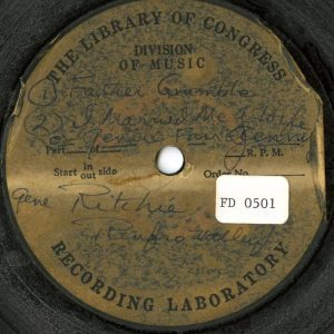 Jean Ritchie, recorded at Renfro Valley Folk Festival, Renfro Valley, Kentucky, April 1946. 12 acetate disc, FD_0501, in the Artus Moser Papers (20004), Southern Folklife Collection, UNC-Chapel Hill.