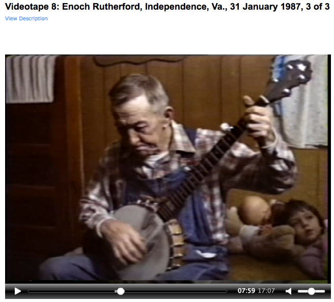 20113_VT0005_0001_Nancy Kalow Collection_Videotape 8: Enoch Rutherford, Independence, Va., 31 January 1987, 3 of 3