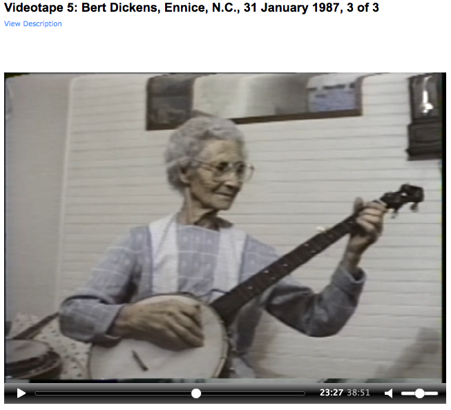 20113_VT0005_0001_Nancy Kalow Collection_Videotape 5: Bert Dickens, Ennice, N.C., 31 January 1987, 3 of 3