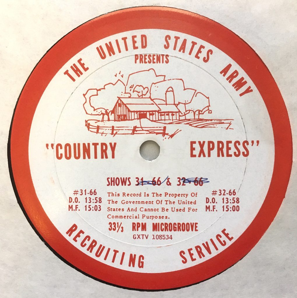 "The United States Army Recruiting Service Presents ""Country Express"", shows 29-66 & and 30-66"