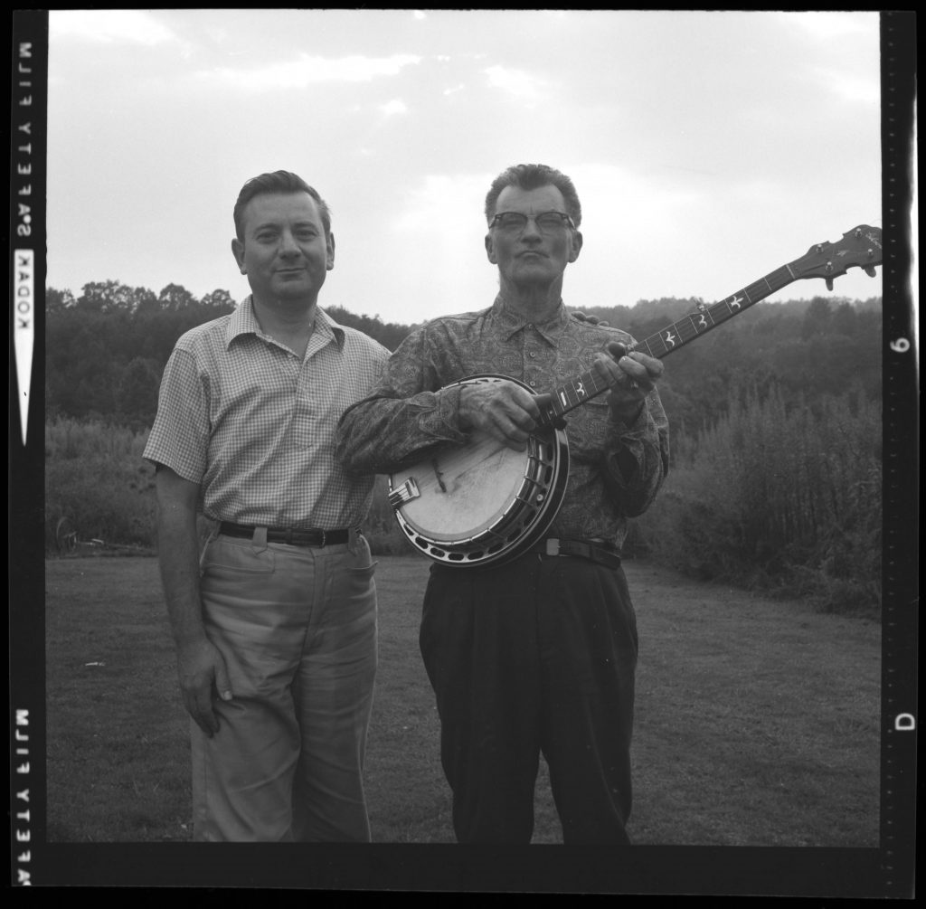 Image_Folder_1789_02_Archie_Green_and_Dock_Walsh_with_banjo_Portrait_Negative_undated