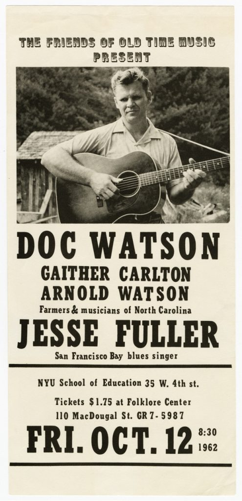 Friends of Old Time Music flier, Doc Watson, 20001_pf1912_01_0001_Mike Seeger Collection (20009) Southern Folklife Collection, UNC Chapel Hill