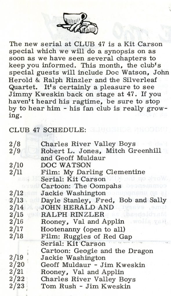 Schedule for Club 47, Boston, from p.6, The Broadside, vol. 1, no. 24, February 8, 1963