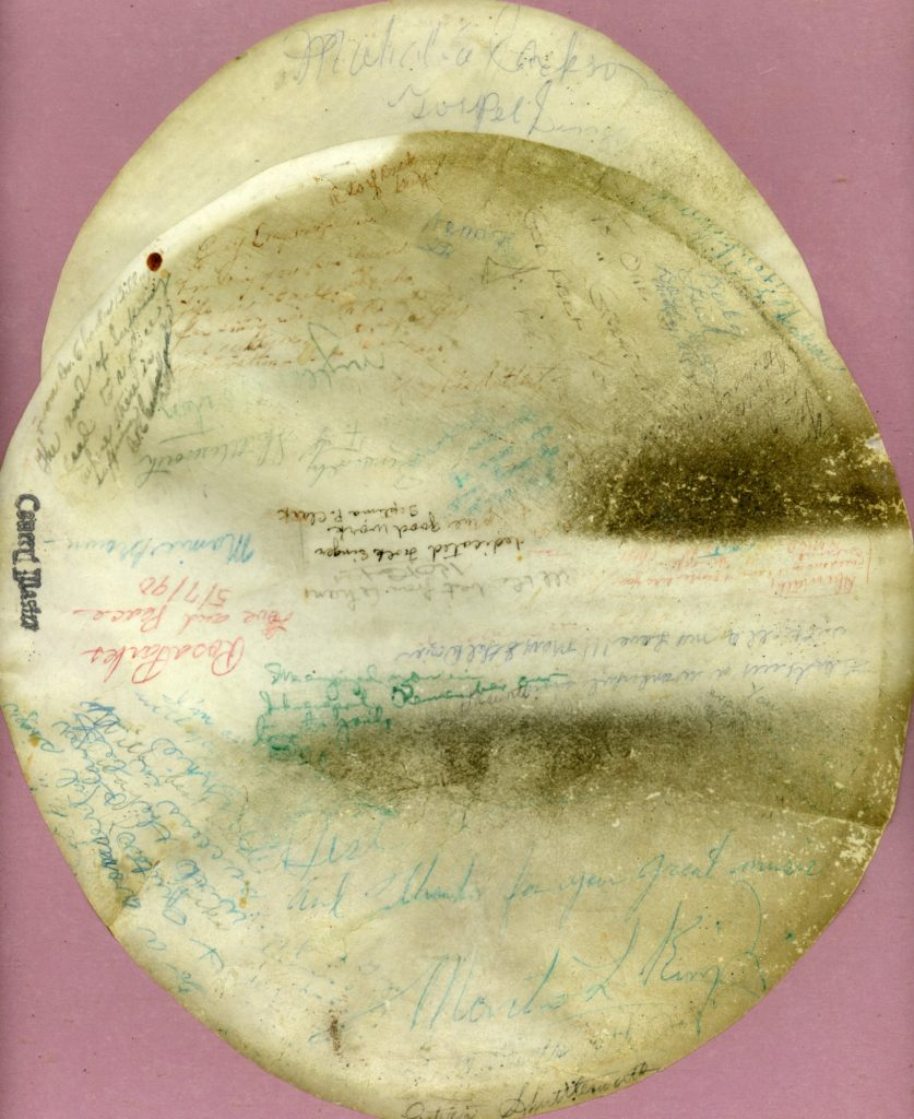 signatures and autographs of leaders in the Civil Rights Movement, including Martin Luther King, Jr., Mahalia Jackson, Rosa Parks, Fred Shuttlesworth and more on Guy Carawan's banjo head